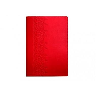 """Деловой блокнот А6, тиснение слева """"Кружево"""", Vivella, мягкая обложка, кремовый блок, красный"""