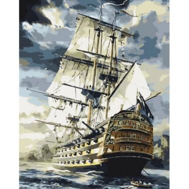 Картина за номерами ідейка Морський пейзаж Лінкор 40 * 50см пензлі + фарби в комплекті