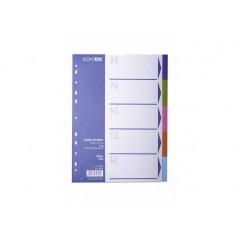 Роздільник аркушів А4 Economix, пластик, 5 розділів, кольоровий