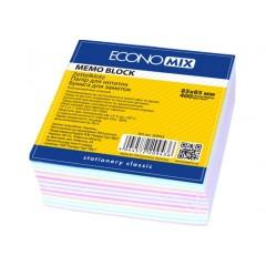 """Папір для нотаток 85х85 мм """"Зебра"""" Economix, 400 л., Проклеєний, кольоровий E20943"""