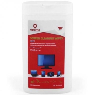Салфетки для очистки экранов Optima, влажные, 100 шт., плоская туба