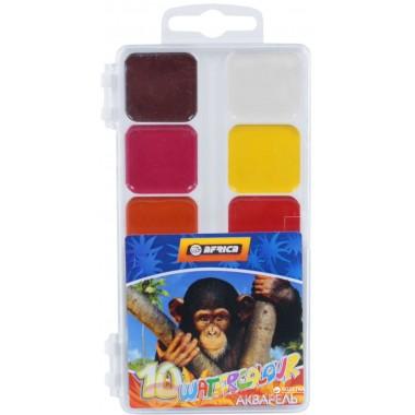 """Краски акварельные медовые """"Africa"""", 10 цветов, без кисти, пластик, Economix"""
