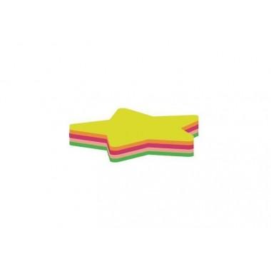 """Блок для заметок с клейким слоем """"Звезда"""" 45х50 мм Economix, 80 л., Неон микс"""