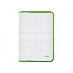 Папка-пенал пластиковая на молнии Economix, А4, прозрачная, фактура: ткань, молния салатовая