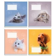 """Набір зошитів 12 л., Клітина, 32 штуки """"коти, собаки"""" Поліграфіст"""