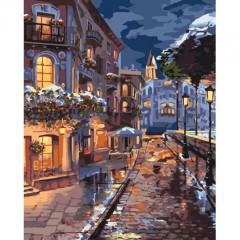 Картина за номерами Ідейка Міський пейзаж Зимова містечко 40 * 50 см пензлі фарби в комплекті