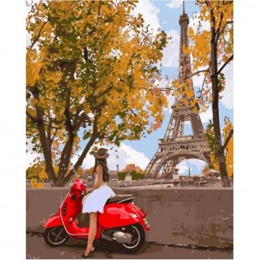 Картина за номерами ідейка Вперше в Парижі 40 * 50 см пензлі + фарби в комплекті