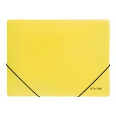"""Папка пластиковая А4 на резинках Economix, фактура """"апельсин"""", желтая"""
