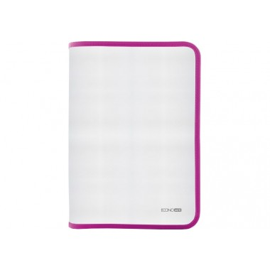 Папка-пенал пластикова на блискавці Economix, А4, прозора, фактура: тканина, блискавка рожева