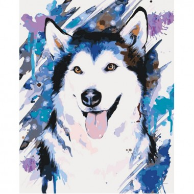 Картина за номерами ідейка Весела хаскі 40 * 50 см пензлі + фарби в комплекті