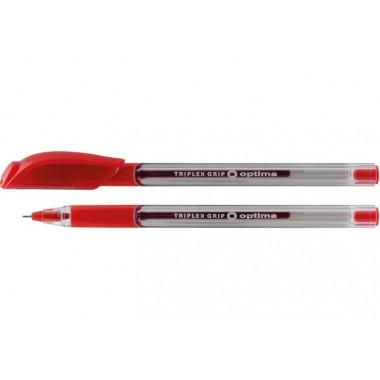 Ручка масляна OPTIMA TRIPLEX GRIP 0,7 мм, пише червоним