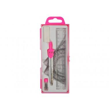 Готовальня, Economix, 7 предметів, рожева