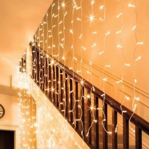 Гирлянда электрическая штора 3*1 метра Желтая  280 лампочек LED