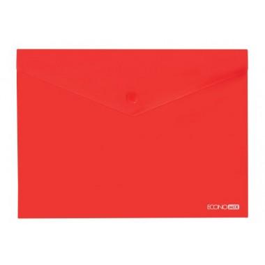 """Папка-конверт А5 прозрачная на кнопке Economix, 180 мкм, фактура """"глянец"""", красная"""
