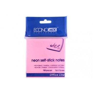 Блок для заміток з клейким шаром 75х75 мм Economix, 100 л., Рожевий E20932-09
