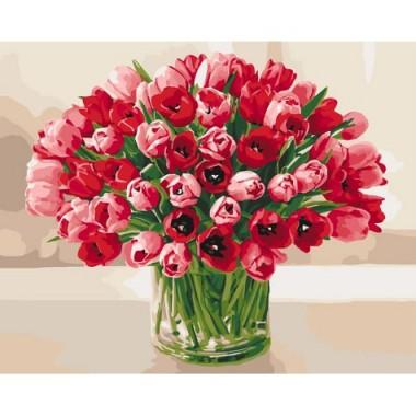 Картина за номерами ідейка Запеклі тюльпани 40 * 50 см пензлі + фарби в комплекті