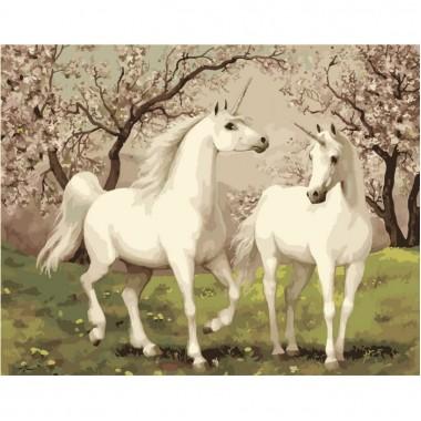 Картина по номерам Идейка Пара единорогов 40х50см кисти + краски в комплекте