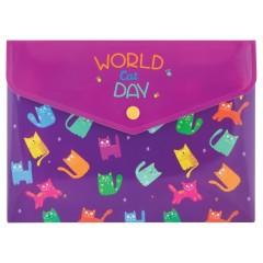 Папка-конверт А5 на кнопке World Cat Day, 180 мкм