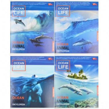 Зошит кольорова 96 аркушів, клітинка «Океанська життя»